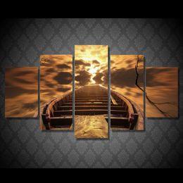 barco al atardecer pintura al óleo Rebajas 5 Unids / set HD Impreso Sunset Boat Pintura Impresión en Lienzo room decor print poster imagen enmarcada pinturas al óleo sobre lienzo