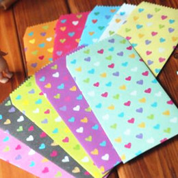 Wholesale Gifts Tape - Wholesale-5pcs lot 175*87mm New Candy Color Heart Shape Series Fashion paper Envelope card bag gift bag office school supplies