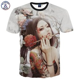 Wholesale Tattoo Classic - Mr.1991INC Classic New Fashion men's 3D t-shirt funny printed Classical sexy tattoo beauty flowers top tees 3d Tshirt DT31