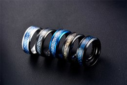 Wholesale Gold Dragon Ring Jewelry - 2017 stainless steel rings luxury carbon fiber dragon Pattern big simple black gold plated mens ring Business type fashion Jewelry Wholesale