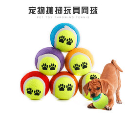 Wholesale Large Play Balls - 10 Pcs Free shipping Funy And Lovely Candy color Dog Toy Tennis Balls Run Catch Throw Play Toy Chew Toys Pet Ball Affordable