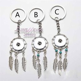 Wholesale Wholesale Copper Metal Keychain - Top wholesale natural opal stone dreamcatcher keyring fashion silver boho jewelry feather 18mm snap button keychain for women