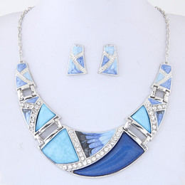 Wholesale Crystal Dress Colors - Boutique Crystal Jewelry Sets For Women Set Turkish Jewelry Bijoux Enamel Moon Pendant Jewelry Set Party Dress Accessory