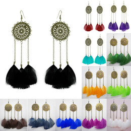 Wholesale Pink Blue Chandelier Lighting - Feather Earrings 12 Colors wholesale lots Cute Chain Round Charm Light Dangle Eardrop (Army Green Orange Deep Pink Brown Blue Purple)(JF258)
