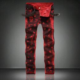 Wholesale Quality Moto - Wholesale- High Quality Red Skull Print Jeans Men Moto Zipper Rap Jeans 2017 New Mens Pants Slim Fit Jeans Men Biker Denim Classic Jean men