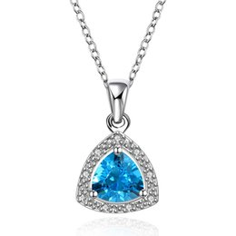 Wholesale Triangle Heart Necklace - Wholesale 18K Solid White Gold Pendant Necklace Triangle Crystal Charm Blue Ocean Range For Woman Fashion Jewelry