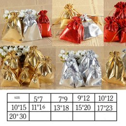 Wholesale Gold Drawstring Organza Bag - 3 Colors 10 Sizes Gold & Silver Red Drawstring Organza Jewelry Bag Organza Pouch Bag,Christmas Wedding Birthday Easter Party Gift Pouch Bag