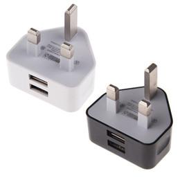 Wholesale usb power adapter uk - 100pcs White Color 3pin UK GB Dual usb ports 2A Fast charging wall charger power adapter for samsung s3 s4 s6 s7 for android phone gps mp3