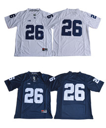 Wholesale Football Mix - 26 Saquon Barkley 2017 Penn State Nittany Lions Jersey No Name Navy Blue White College Football Jerseys Stitched S-XXXL Mixed Order