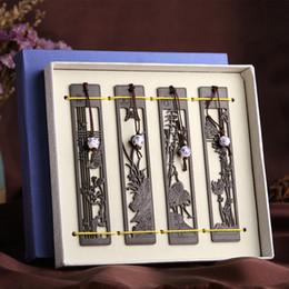 Boite de sculpture en bois chinoise en Ligne-Classique chinois bois sculpté signets - Vintage Design bricolage accessoires de bureau avec boîte-cadeau - fournitures scolaires de bureau papeterie