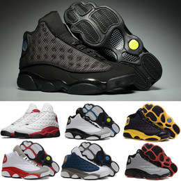 Wholesale Cherry Falls - 2017 New Cherry Retro 13 OG Black Cat Men Basketball Shoes Trainers Retro 13s Hologram Chicago Bred Cement Grey Toe Man Sneakers