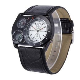 Wholesale Unique Big Watches - OULM 4094 Unique Design Mens Big Face Fashion Outdoor Watches Wide PU Strap Casual Quartz Watch with Compass Montre Boussole