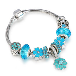 Wholesale Vintage Silver Snake Ring - 2017 Vintage Silver Plated Charm Murano Glass Bracelets For Women Enamel Blue Flowers Beads Bracelets DIY Jewelry AA128