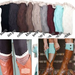 Wholesale Acrylic Trimmer - Wholesale- Women's Crochet Knitted Lace Trim Toppers Cuffs Liner Leg Warmers Boot Socks