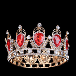 Wholesale Full Pageant Crown Tiaras - Large Round Full Crown Emerald Red Zircon Crystal Pageant Beauty Contest Crowns Wedding Bridal Tiara Alloy Gold Silver Plated Hair Jewelry