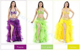 Wholesale Latin Sexy Ruffle Skirts - sexy bar belt yarn long skirt set Belly Dance dress Sexy Dancer performance Costume Set modal Jazz Latin dance Clothes training Suit