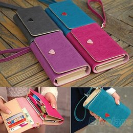 Wholesale Leather Zipper Wallet For S3 - Wholesale- Women Lady Fashion Accessories Envelope Card Coin Wallet Leather Purse Case Cover Bag For Samsung Galaxy S2 S3 Iphone 4S 02NZ