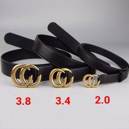 Wholesale Genuine Leather Belts Woman - High quality cowskin belt double buckle real leather luxury male designer belt for men women size wide 2.0 3.4 3.8cm