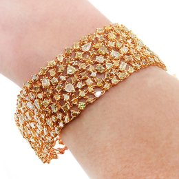 Wholesale Gold 18k Diamond Certified - 5.11 TCW Gia Certified Fancy Orange-Yellow Pear Shape Diamonds Bracelet 18k Gold