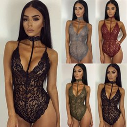 Wholesale Red Lace Rompers Free Shipping - 2017 New Arrive Sexy European Black Lace Deep V Neck Women Rompers Bustiers Free Shipping Sheath Red Backless Women Underwear 379
