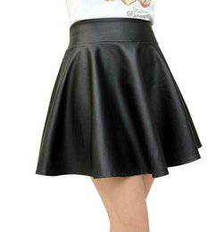 Wholesale Flared Leather Skirt - S-L Sexy Women's Skirt Casual High Waist Leather Swing Flared Pleated Skirt Soft PU Black Wine Red Skirts