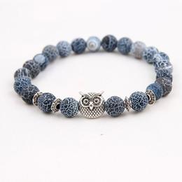 Wholesale Energy Stones Rocks - Silver Plated Animal Owl Head Bracelet With Natural Black Lava Rock Stone Energy Men Beaded Bracelets For Women