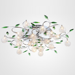 Wholesale Green Switches - LED Ceiling Light Modern Green Leaves Light Crystal Ball Ceiling Light Aluminium Wire Ceiling Lamp Living Room Chandelier 6 10 15 lights