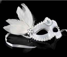 Wholesale Snow Ball Wedding - 2017 Makeup Ball Venetian Half Face Mask Side Flower Feather Goggles Mask White Snow Princess Mask