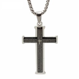 Wholesale Rhinestone Bible - hot sale stainless steel jewelry fashion Non-allergenic anti rust titanium steel religious men woman bible cross pendant necklace