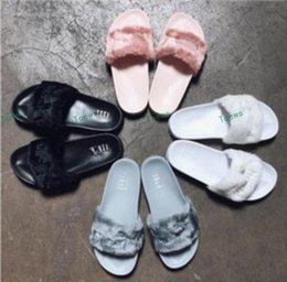 Wholesale Red Winter Indoor Slippers - Brand New 2017 Rihanna Fenty Leadcat Fur Slides - Pink, Black,White,Red,Grey Slide Indoor Sandals Womens Slippers retail Free Shipping