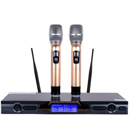 Wholesale Wireless Mike For Computer - Professional UHF Wireless Microphone Karaoke System Dual Handheld Mic 2 Channels Cordless Mike For Outdoor Party Stage KTV Audio Mixer