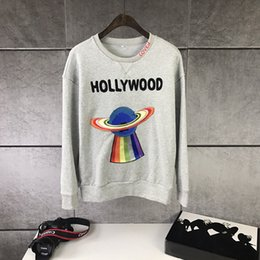 Wholesale Fly Hoodies - new autumn Winter fashion brand men hoodies casual hoodie male fleece Animated cartoon embroidered flying saucer letters mens sweatshirt