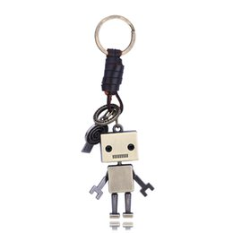 Wholesale Mixed Car Keyrings - Mix Order Retro Punk Style Metal Keyring with Genuine Leather Roap Antique Bronze Plated Split Key Rings Findings Keychain Key Chains