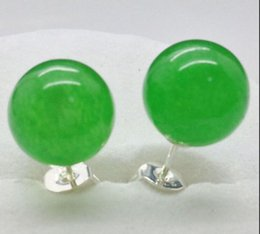 Wholesale Green New Jade Beads - free shipping >New 10mm Natural Green Jade Round Beads Silver Stud Earrings