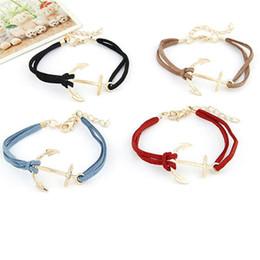 Wholesale 14k Gold Snake Ring - Wholesale- Durable Women Men Retro Alloy Anchor Braided Rope Gold Charm Jewelry Bracelet bracelet men pulseira masculina Adjustable