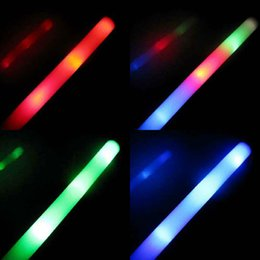 Wholesale Led Foam Light Up Stick - Wholesale- 48Pcs Lot Colorful Flashing LED Foam Sticks 48cm Light-Up Glow Stick Soft Rally Rave Cheer Tube Wand For Party Festival Supplies