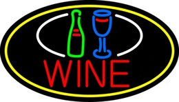"Wholesale Red Wine Stores - Wine Bottle Glass Oval Border Neon Sign Custom Handmade Real Glass Tube Beer Bar KTV Club Store Display Neon Signs Light 17""X14"""