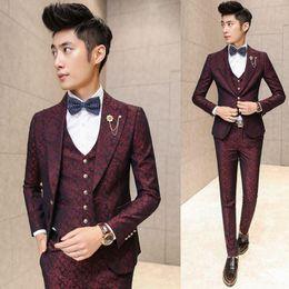 Wholesale Korean Skinny Men Long Pants - Prom Men Suit With Pants Red Floral Jacquard Wedding Suits for Men 3 pieces   Set (Jacket+Vest+Pants) Korean Slim Fit Dress