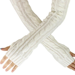 Wholesale Knit Opera - Spring Autumn Women Wool Arm Warmers Winter Fashion Fingerless Gloves button Knitted Mitten Long Gloves guantes tactical gloves