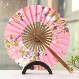 Wholesale Cherry Wedding Favors - Delicate Cherry Bloom Printing Folding Bamboo Fan Japanese Chinese Wedding Favors Pocket Fan Free Shipping ZA4256
