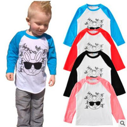 Wholesale Animal Clothes For Kids - INS Kids Clothing T shirts Cotton Rabbit Long Sleeved Boys Clothes Raglan Sunglasses Letters bottoming Kids T-shirts for Girls Tees Clothes