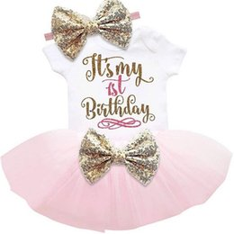 Wholesale baby girls birthday outfits - baby girl Number one letter print Romper+Tutu Skirt+headband 3pcs Birthday Set outfits kids cotton clothes suit for babies