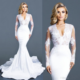 Wholesale Long Slim Lace Wedding Dresses - 2017 New Sexy V-neck Slim Long Sleeves Lace Mermaid Wedding Dresses Trumpet Train Custom Made Cheap Wedding Bridal Gowns Party Dresses
