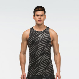Wholesale Excercise Shirt - Wholesale- Men compression tight vest base layer skin gilet Fitness Excercise vest sleeveless shirts