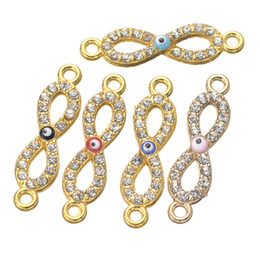 Wholesale Gold Infinity Connectors - Wholesale- 10PCS Gold Colors Evil Eye Infinity Letter White Crystal Charms Zinc Alloy Metal Connectors For Jewelry Making DIY Handmade