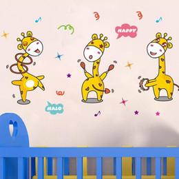 Paquete de gráficos online-Giraffine lindo Pegatinas de Pared Gráfico de vinilo Paquete de una sola pieza Animal PVC Kids Living Pegatinas de Pared para la Decoración Del Hogar
