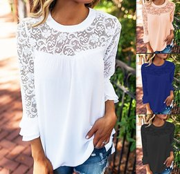 Wholesale Ruffle Top Blue Women - Autumn and Spring Women Fashion Casual Chiffon Tops Lady Lace Flowers Pattern Embroidered Long Ruffled Sleeve O-neck Loose Blouse