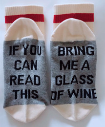 "Wholesale Pink Wine Glasses - Christmas Socks, Unsex ""IF YOU CAN READ THIS, BRING ME A GLASS OF WINE"" socks, fashion crew socks"