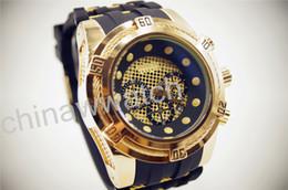 Wholesale Men Gel Watches - gift watch invicta store Luxury Brand GOLD watch men navitimer 88888 date Dial Silica gel quartz chronograph Watch Mens Watches
