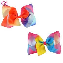 Wholesale Rainbow Dance - 10 Pcs lot 5 inch Rainbow Hair Ribbon Bows For Gifts Dancing Party Colorful Cute Bestie Princess Baby Barrette